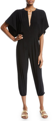 Norma Kamali Rectangle Plunging Kimono-Sleeve Jogger Jumpsuit