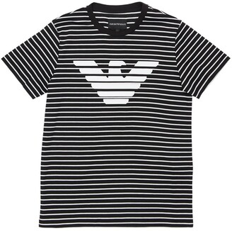 Emporio Armani Striped Logo Print Cotton Jersey T-shirt