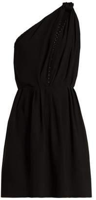 Saint Laurent Knot Shoulder Draped Mini Dress - Womens - Black