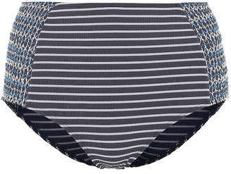 Jonathan Simkhai High-waisted striped bikini bottoms