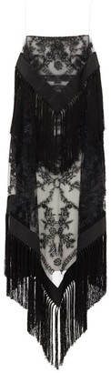 Burberry Tasselled Tulle-overlay Twill Dress - Black