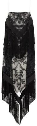 Burberry Tasselled Tulle-overlay Twill Dress - Womens - Black