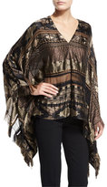 Ralph Lauren Embroidered Silk-Blend Cape, Brown