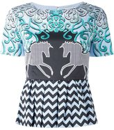 Mary Katrantzou showmanship print peplum top - women - Silk/Cotton/Spandex/Elastane - 12