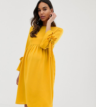 Queen Bee skater dress with fluted sleeve in mustard-Yellow