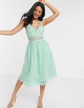 Love Triangle midi lace prom dress in sage