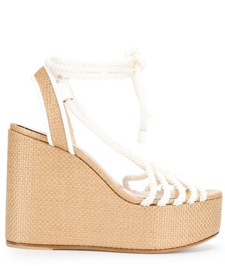 Casadei Strappy Rope Wedge Sandals