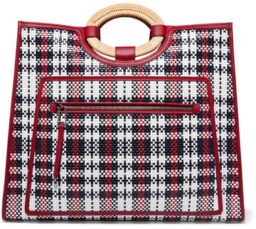 Fendi Runaway Large Raffia-trimmed Woven Leather Tote - Red