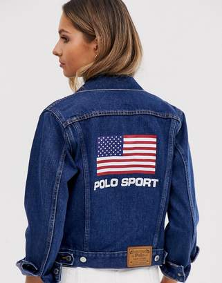 Polo Ralph Lauren Polo Sports flag logo denim jacket-Blue