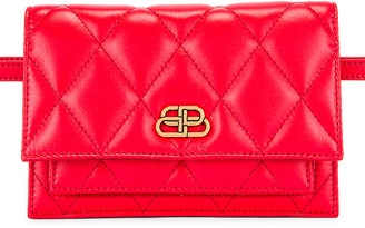 Balenciaga XS Quilted Leather Sharp Belt Bag in Bright Red | FWRD