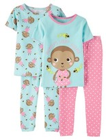 Girls' Snug Fit Cotton 4-Piece Pajama Set - Just One You Made by Carter's®