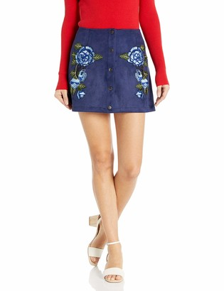 BB Dakota Women's Cailyn Scuba Faux Suede Skirt with Floral Patches