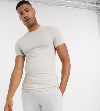 ASOS DESIGN Tall organic muscle fit t-shirt with crew neck in beige