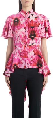 Alexander McQueen Floral Silk High/Low Peplum Blouse