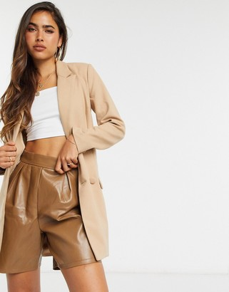 4th + Reckless eyelet buckle detail blazer dress with belt in camel