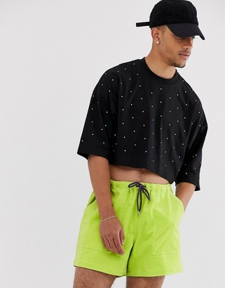Asos DESIGN cropped oversized t-shirt with half sleeve and neon embellished gems