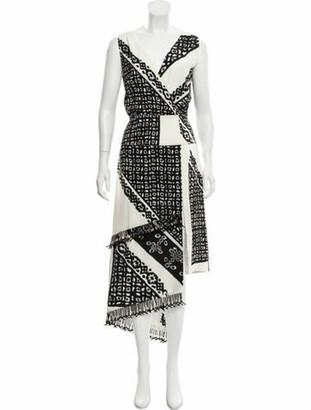 Altuzarra Silk Fringe-Accented Midi Dress Black
