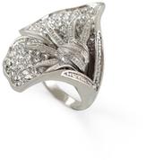 Rhinestone-Pave Flower Ring