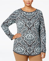 Charter Club Plus Size Jacquard Paisley Sweater, Only at Macy's