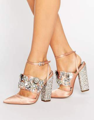 Asos Design PAPAYA Bridal Embellished Heels-Beige