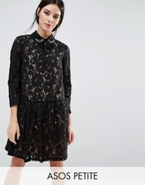 Asos PREMIUM Smock Dress with Embellished Collar in Lace
