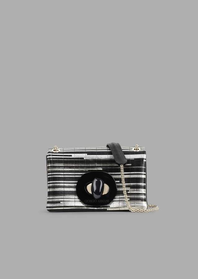 Giorgio Armani Mini Crossbody Bag In Inlaid Laminated Nappa Leather With Exclusive Fastening