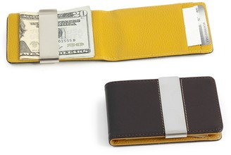 Brown Leather Stainless Steel Money Clip Wallet