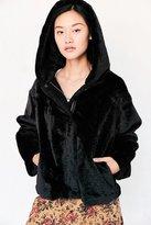 Silence & Noise Silence + Noise Faux Fur Hooded Bomber Jacket