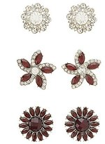 Charlotte Russe Gem & Rhinestone Flower Earrings - 3 Pack