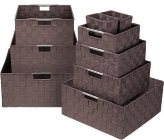 Sorbus Storage Box Woven Basket Bin Container Tote Cube Organizer Set Stackable Storage Basket Woven Strap Shelf Organizer Built-in Carry Handles (Woven Basket Set - 9 Piece, Chocolate)
