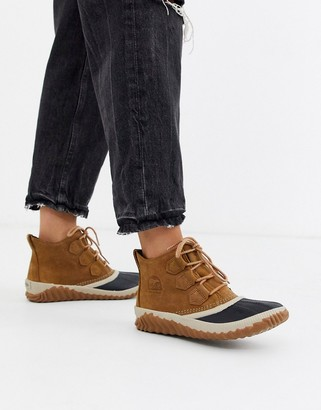 Sorel Out N About Plus camel waterproof flat ankle boots