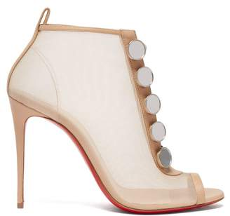 Christian Louboutin Marika 100 Mesh Ankle Boots - Womens - Nude