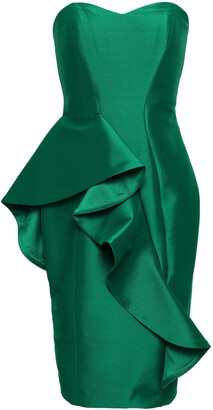 Badgley Mischka Strapless Ruffled Twill Dress