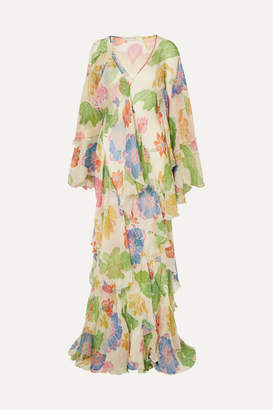 Etro Ruffled Floral-print Silk-georgette Gown - White