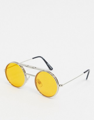 Spitfire Lennon round flip up glasses in silver with orange lens