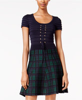XOXO Juniors' Lace-Up Plaid Fit & Flare Dress