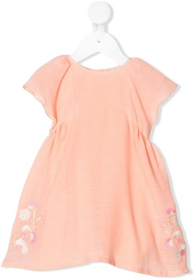 Chloé Kids Floral Embroidery Flared Dress