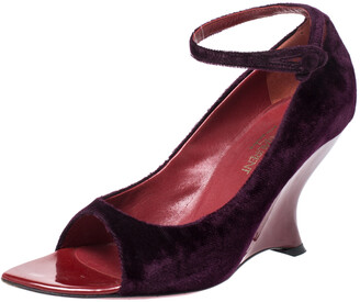 Saint Laurent Paris Yves Saint Laurent Purple Velvet Peep toe Wedges Size 37.5
