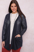 Yours Clothing PAPRIKA Navy Knitted Cardigan With Pockets