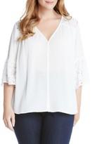 Karen Kane Plus Size Women's Lace & Gauze Flare Sleeve Top