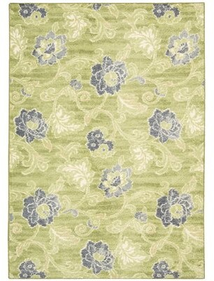 "Waverly Aura of Flora Ikat 7'9"" x 9'9"" Jute Wasabi Area Rug"