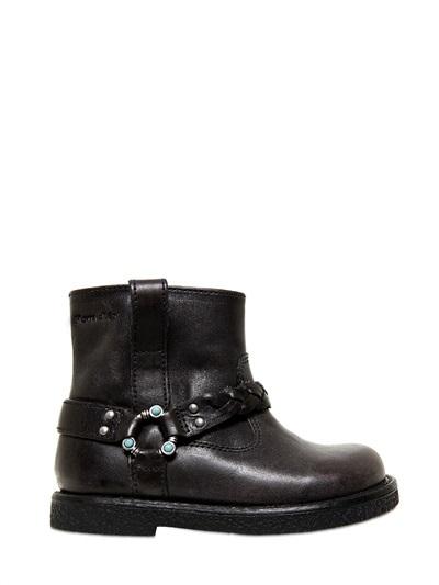 Pom D'Api Leather Biker Boots