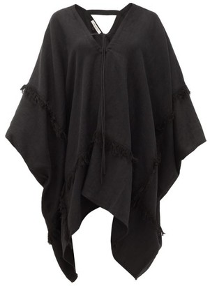 Fil De Vie Zadie Fringed Linen-canvas Mini Kaftan - Black