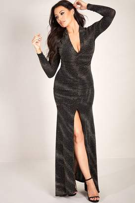 Jessica Wright Sistaglam Loves Aurora silver black plunge neck ruched glitter lurex maxi dress with sleeves