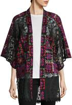Anna Sui Women's Lace Crochet Embroidered Kimono Coat