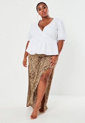 Missguided Plus Size Stone Zebra Print Maxi Skirt