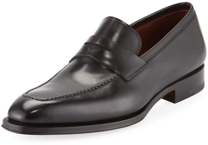 Magnanni Apron-Toe Leather Penny Loafer