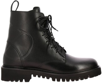 Valentino Vlogo Boots In Leather With Rubber Sole