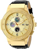 "JBW Men's JB-6101L-D ""Saxon"" Gold Braided Leather Diamond Watch"
