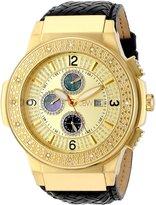 """JBW Men's JB-6101L-D """"Saxon"""" Gold Braided Leather Diamond Watch"""